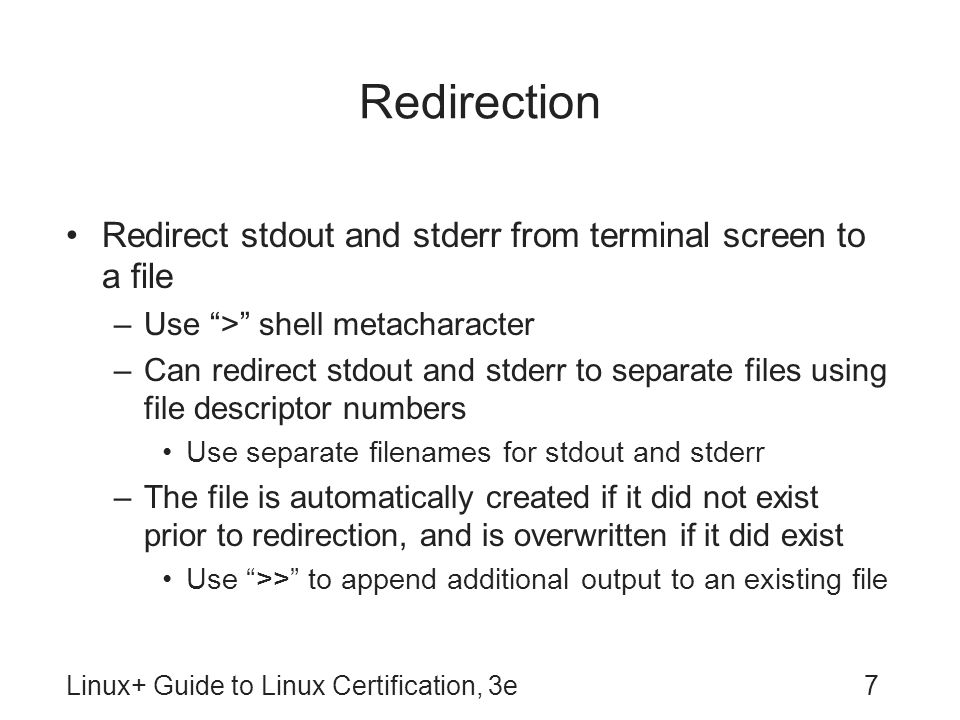 Redirection Redirect stdout and stderr from terminal screen to a file