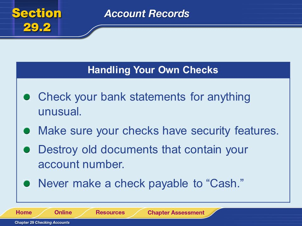 Personal Finance The Parts of a Check. - ppt download