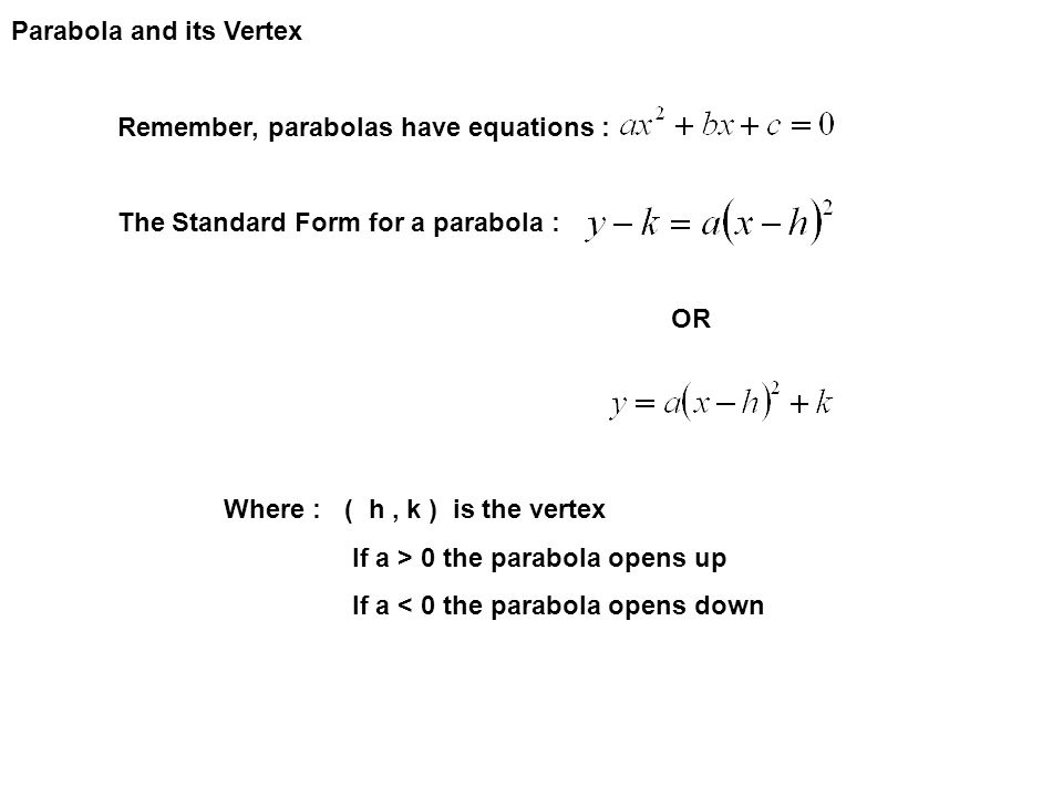 how to find formula from parabola