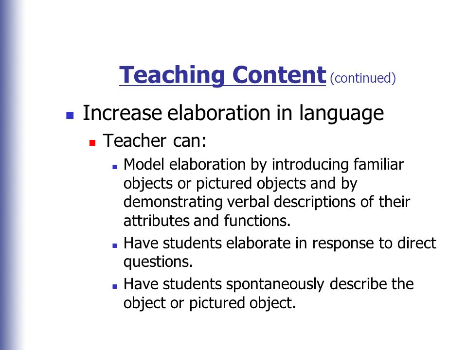 Teaching Content (continued)