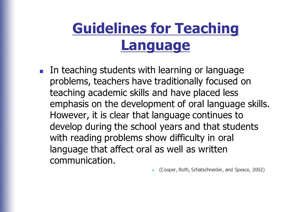 Guidelines for Teaching Language
