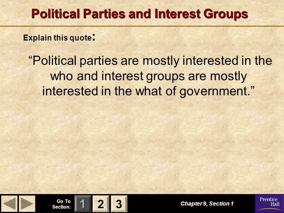 interest groups and political parties Short, helpful video on the topic of political parties and interest groups by top ap us government teacher, chuck videos are produced by leading online education provider, brightstorm.