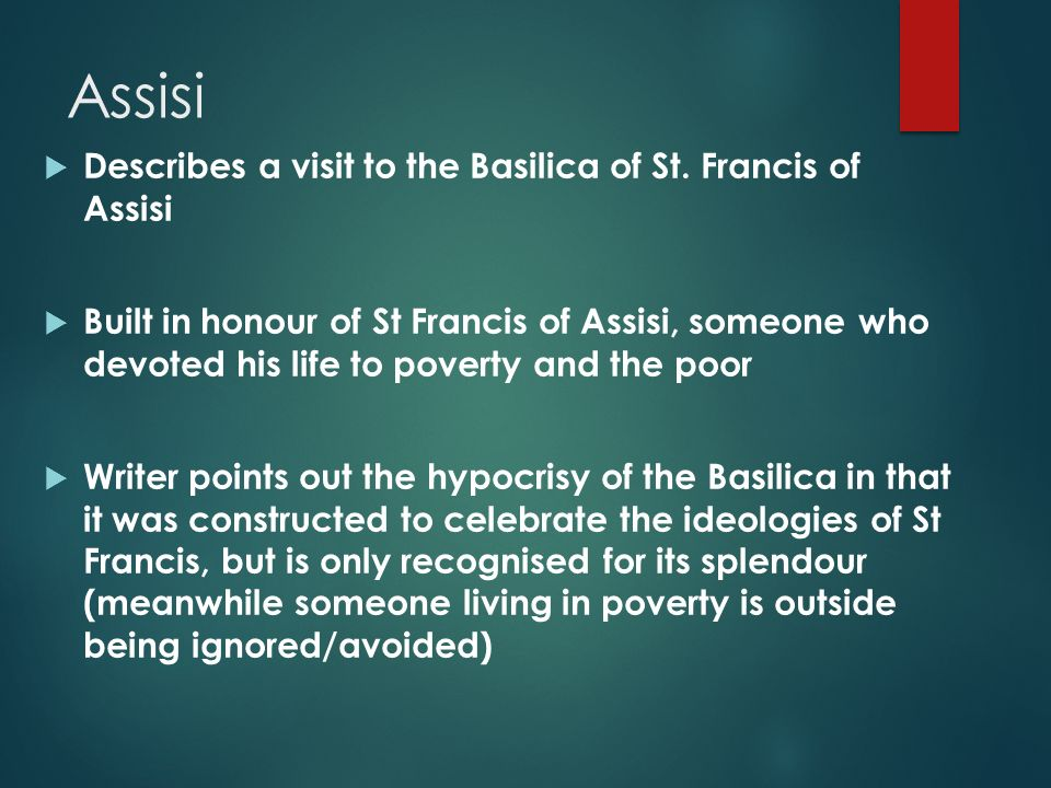 assisi by norman maccaig essay Assisi by norman maccaig in national 4 the assessment is your essay assisi st francis of assisi verse 1 the dwarf with his hands on backwards sat.
