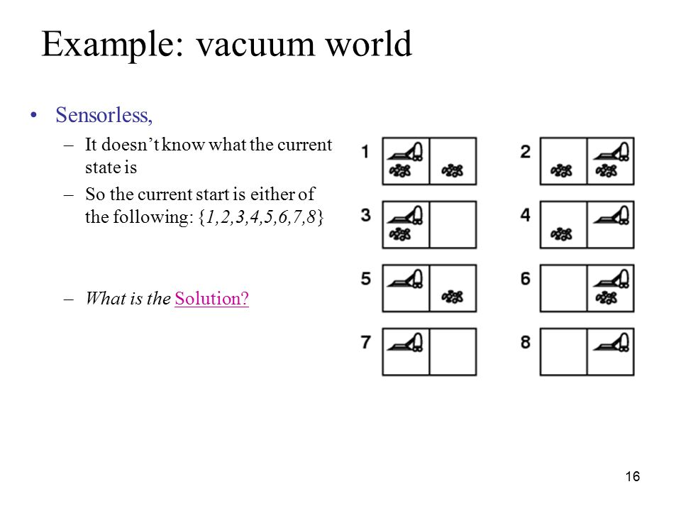 Example Vacuum World Sensorless