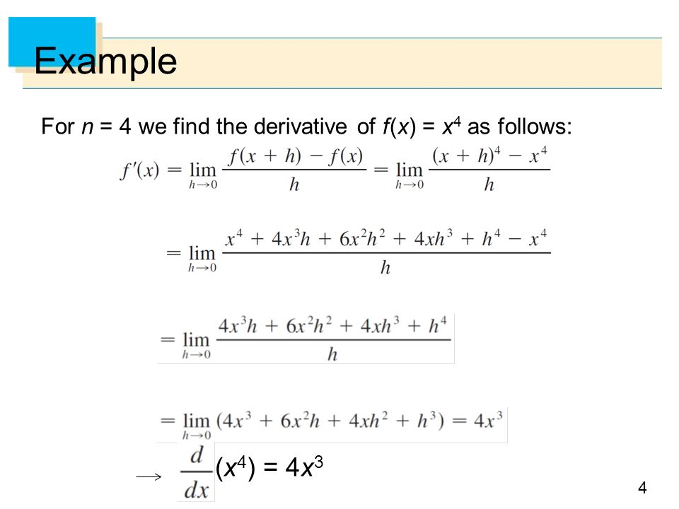 how to find derivative of x4