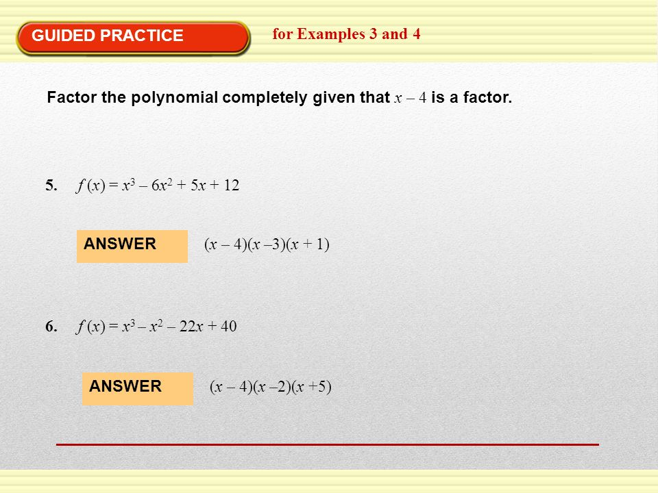 Chapter 5 Polynomials Polynomial Functions ppt download – Factoring Polynomials Completely Worksheet