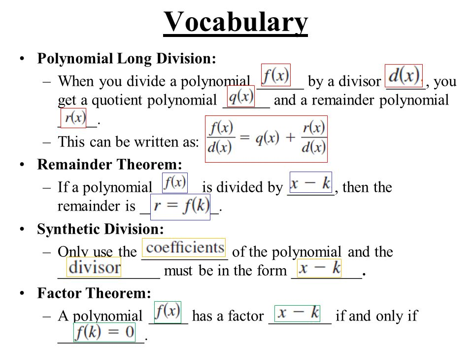 Vocabulary Polynomial Long Division: