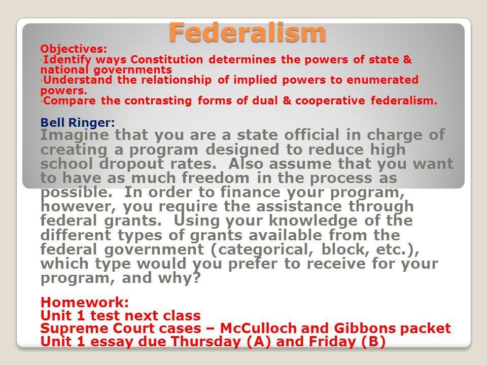 federalism bell ringer gibbons v ogden handout homework ppt 2 federalism
