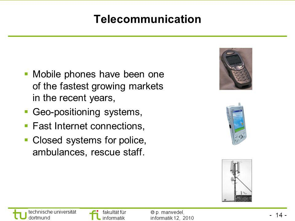 Telecommunication Mobile phones have been one of the fastest growing markets in the recent years, Geo-positioning systems,