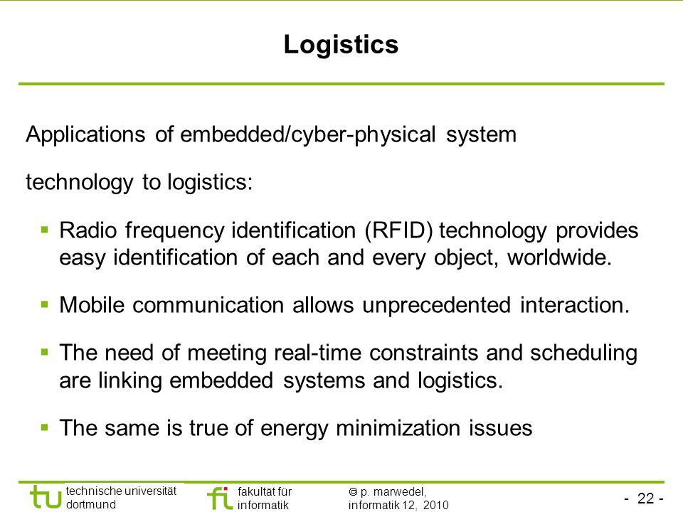 Logistics Applications of embedded/cyber-physical system