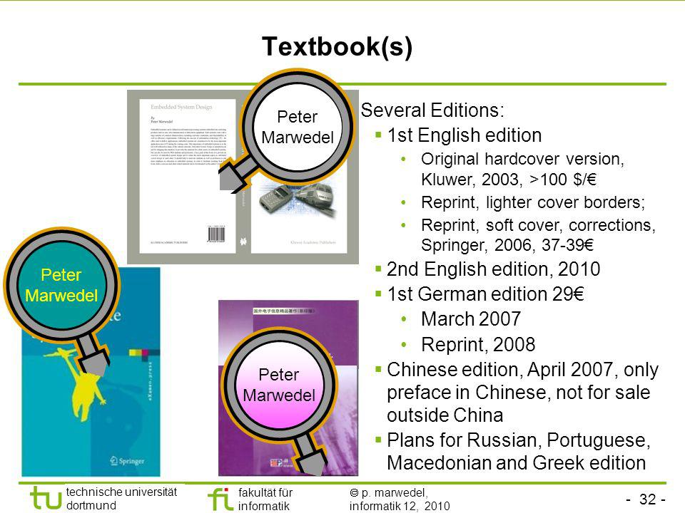 Textbook(s) Several Editions: 1st English edition