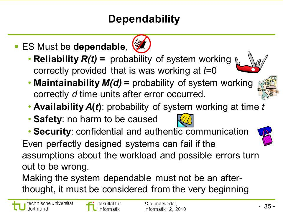Dependability ES Must be dependable,