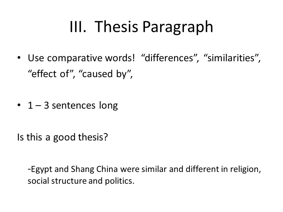 comparative essay tutorial ppt  thesis paragraph use comparative words differences similarities effect of caused