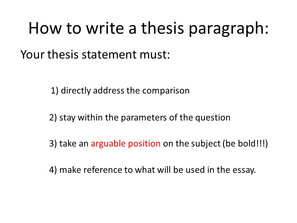 Comparative Essay Tutorial  Ppt Download How To Write A Thesis Paragraph