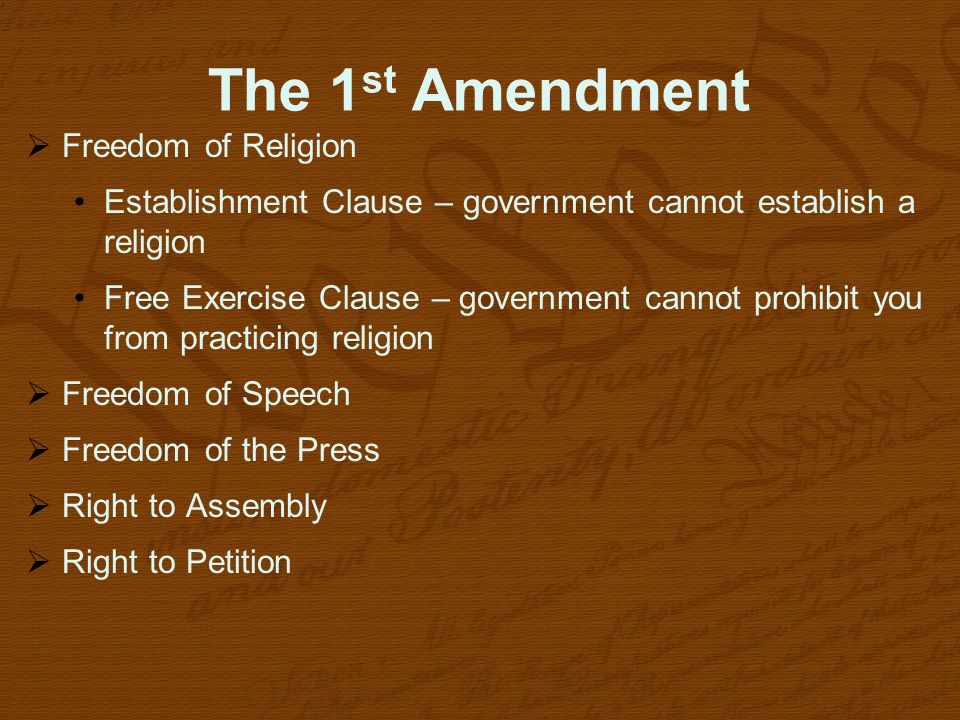The 1st Amendment Freedom of Religion