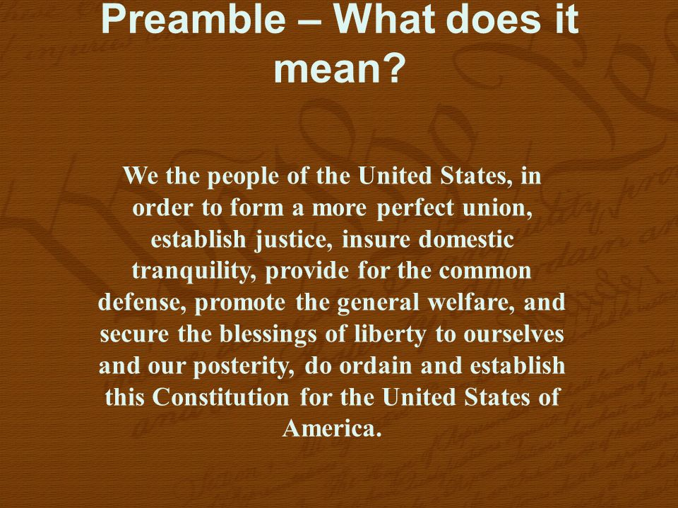 Preamble – What does it mean