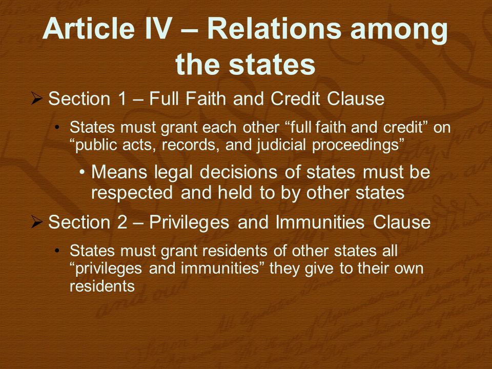Article IV – Relations among the states