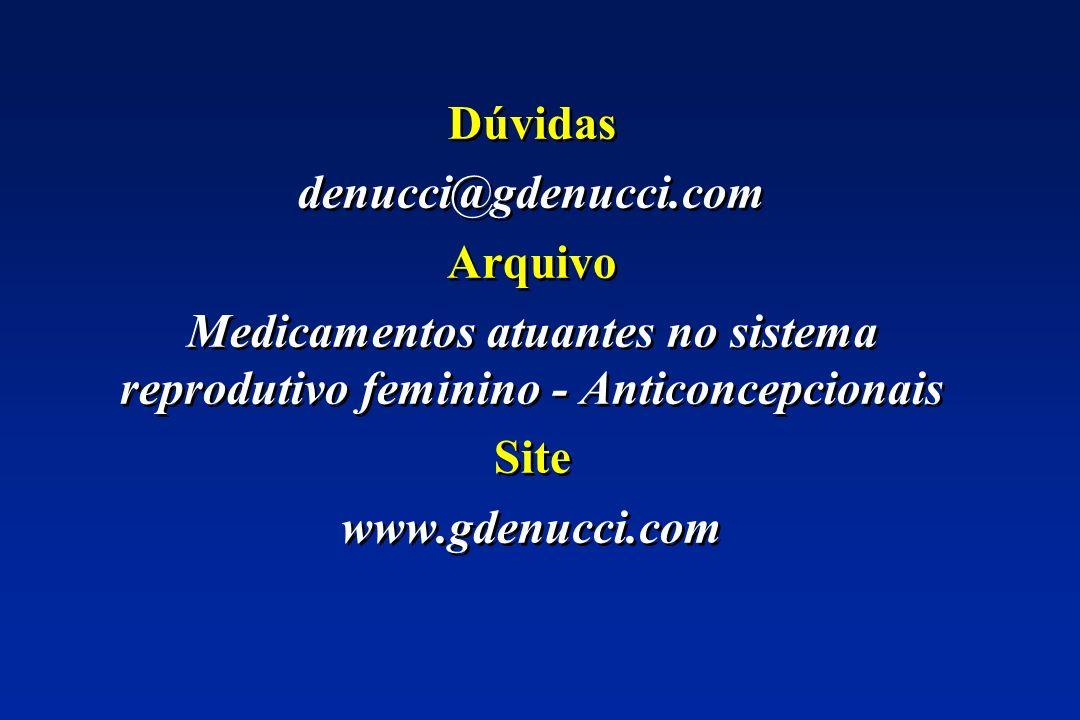 Dúvidas denucci@gdenucci.com. Arquivo. Medicamentos atuantes no sistema reprodutivo feminino - Anticoncepcionais.