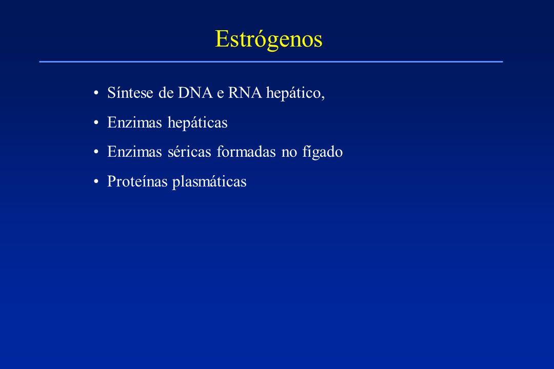 Estrógenos Síntese de DNA e RNA hepático, Enzimas hepáticas