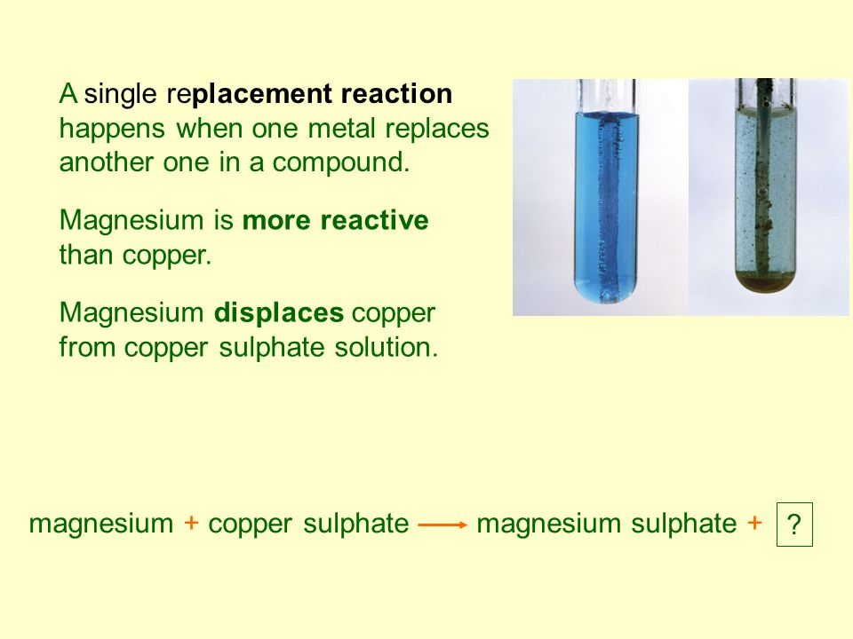 a single replacement experiment on magnesium reaction with hydrochloric acid It is used to determine the products of single displacement reactions, whereby  metal a will replace another metal b in a solution if  mg, mg2+, reacts with acids.