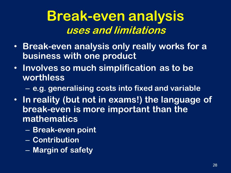 The importance of understanding break even analysis