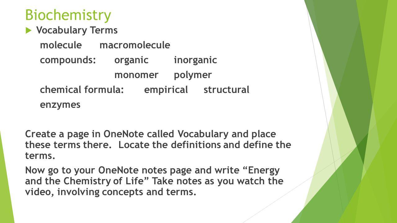 Chemistry review worksheet biochemistry matching