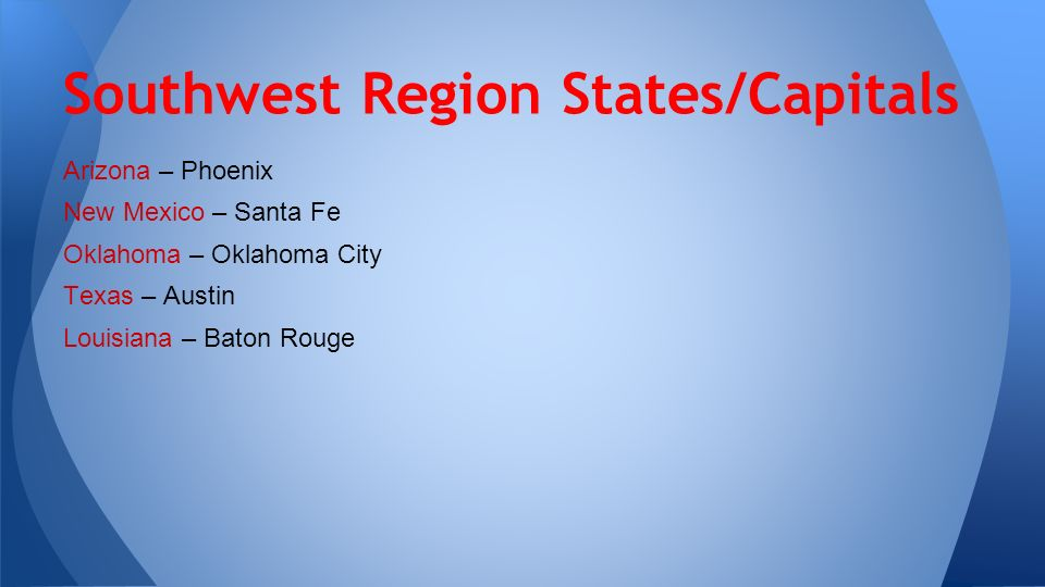 The Region Of The United States Ppt Video Online Download - West region states and capitals