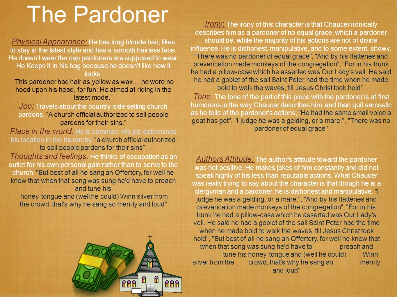 the tone in the pardoner s tale Quiz: comprehending the study preview question 1a of 10 ( 1 the pardoner's tale: tone 272351 ) maximum attempts: 1 question type: multiple response.