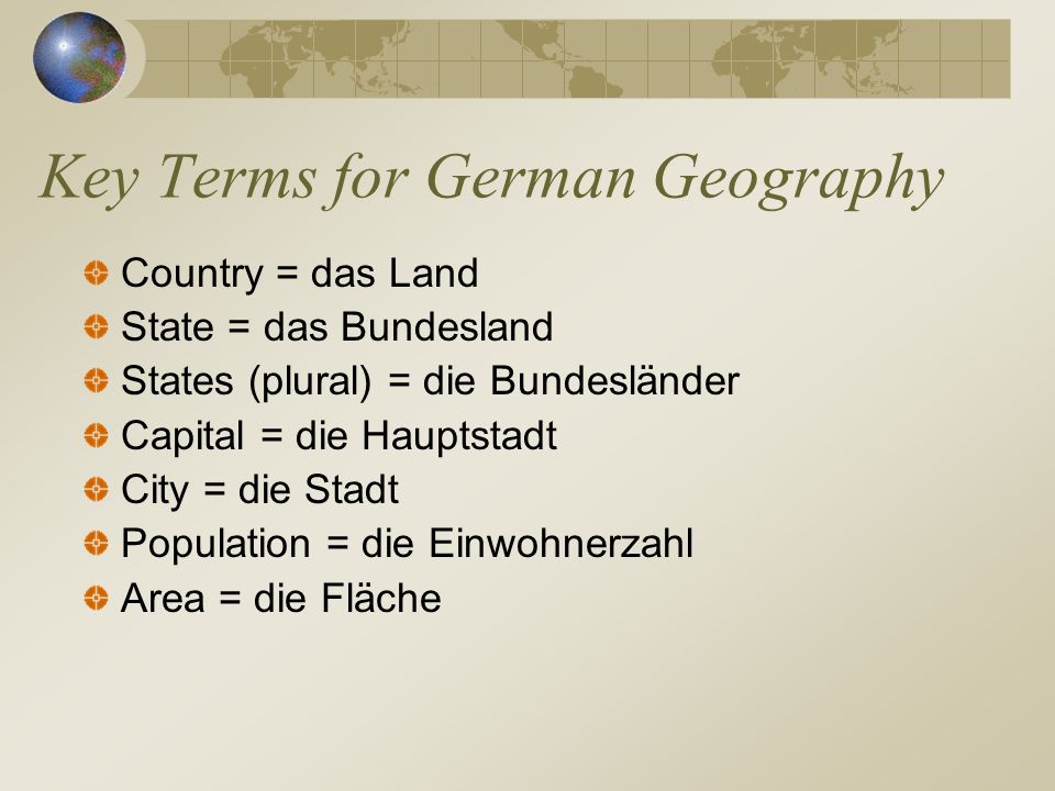 Key Terms for German Geography