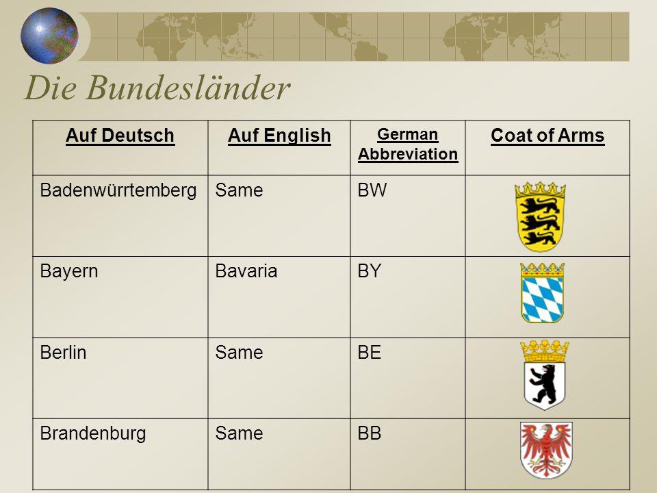 Die Bundesländer Auf Deutsch Auf English Coat of Arms Badenwürrtemberg