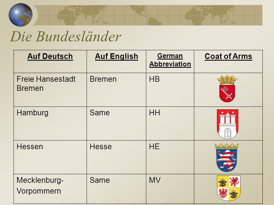 Die Bundesländer Auf Deutsch Auf English Coat of Arms