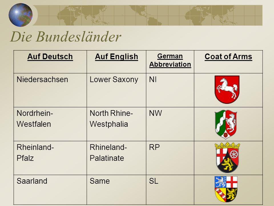 Die Bundesländer Auf Deutsch Auf English Coat of Arms Niedersachsen