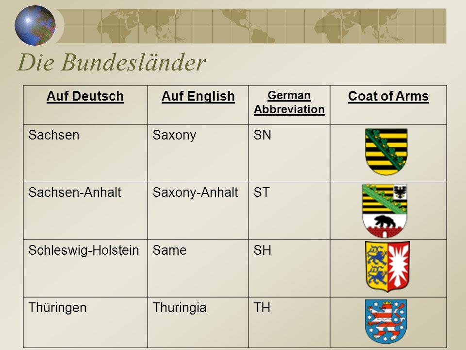 Die Bundesländer Auf Deutsch Auf English Coat of Arms Sachsen Saxony