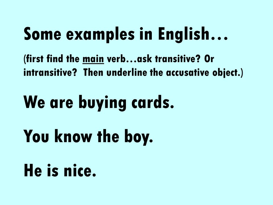 Some examples in English…