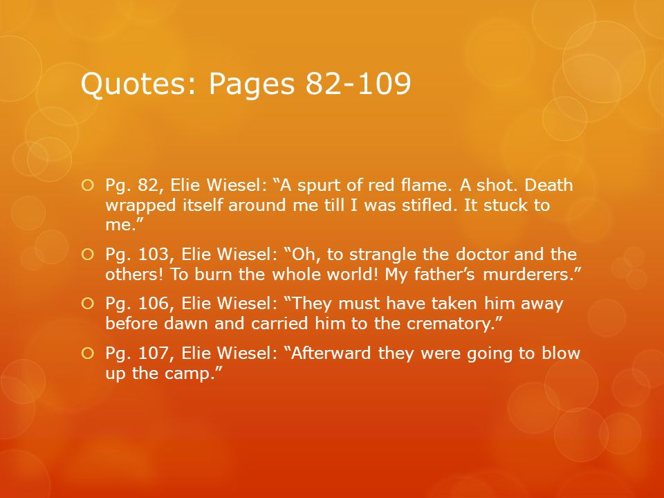 Night By Elie Wiesel Quotes With Page Numbers Amusing Fire Symbol From The Novella Night  Ppt Download