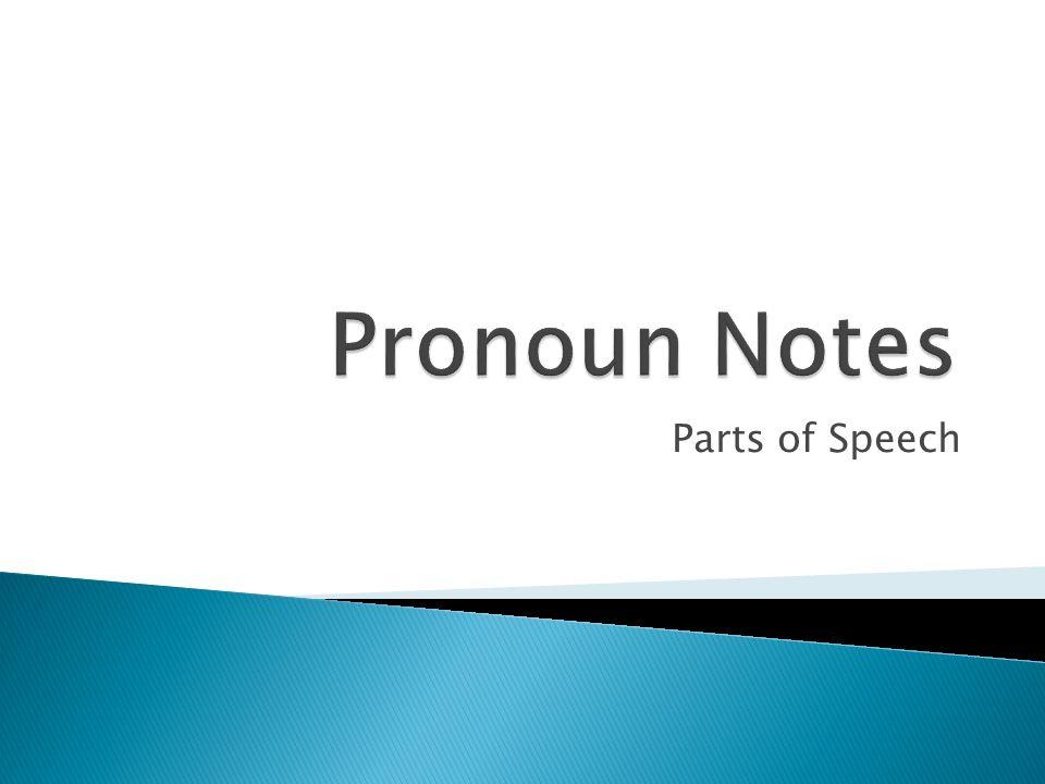 Pronoun Notes Parts of Speech
