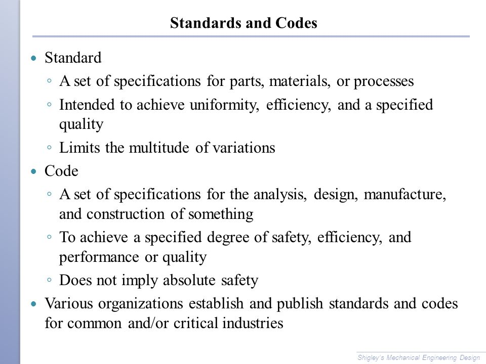 mechanical engineering codes and standards pdf