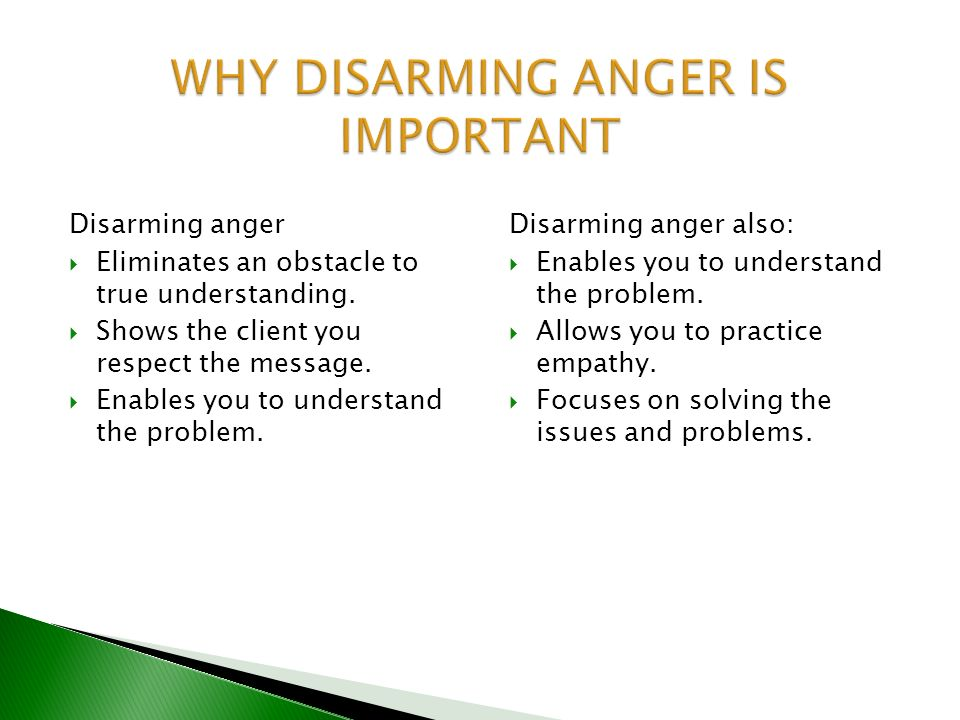 WHY DISARMING ANGER IS IMPORTANT