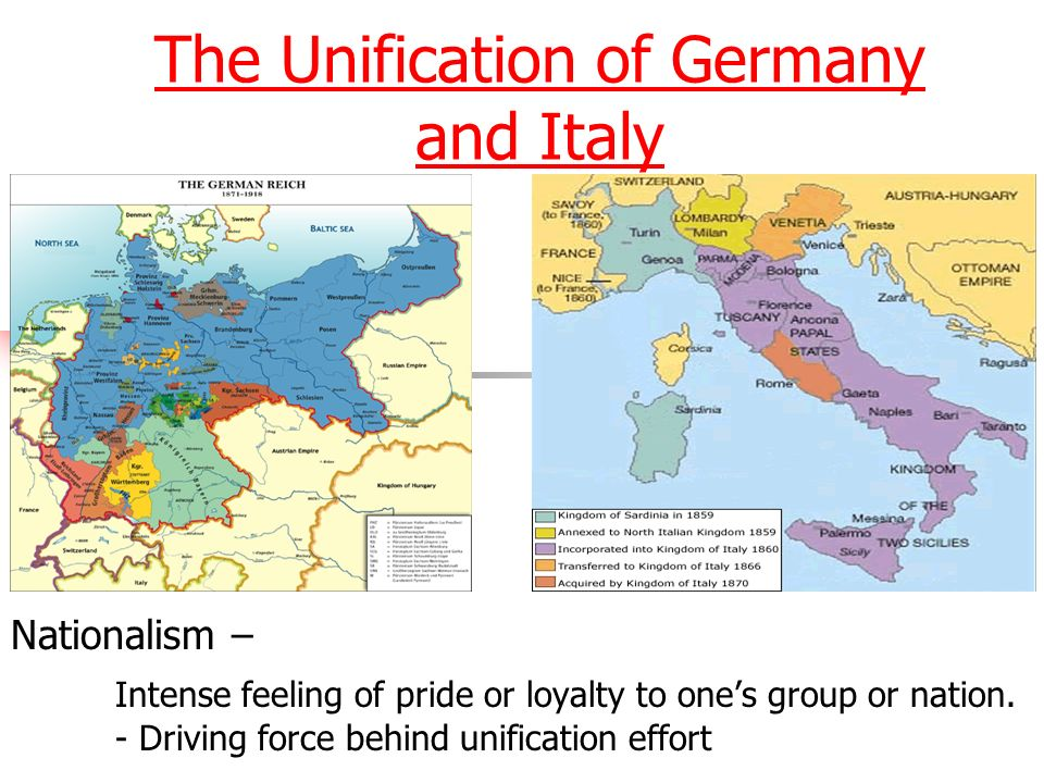 german unification Italian and german unification 1 nationalism case studies:italy and germany 2 nationalism• nationalism is the belief that one's greatest loyalty.