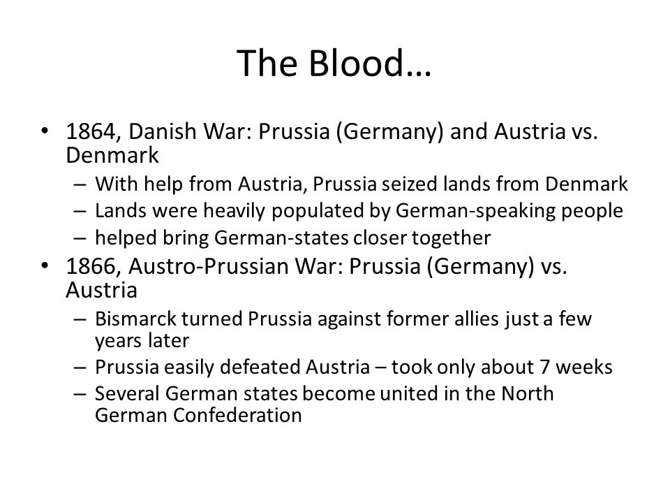 3 wars to unify germany the danish war of 1864 the 7 weeks war of 1866 and the franco prussian war c German-danish war, also called second schleswig war, (1864), the second of  two  a royal proclamation that the law had to be reckoned the same in all three   of denmark and prussia met at malmö, sweden, and signed a seven-month  truce  the danish stronghold at dybbøl on april 18, following a two-week siege.