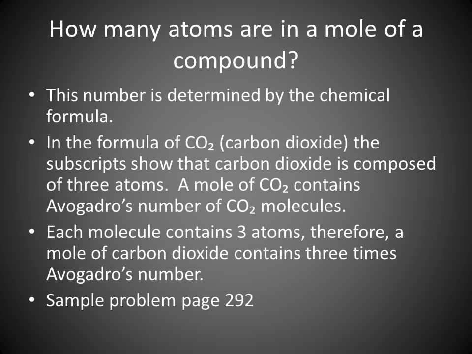 How many atoms are in a mole of a compound