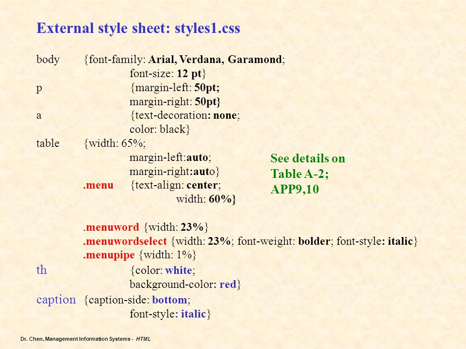Chapter 4 creating tables in a web site using an external for Table font size css