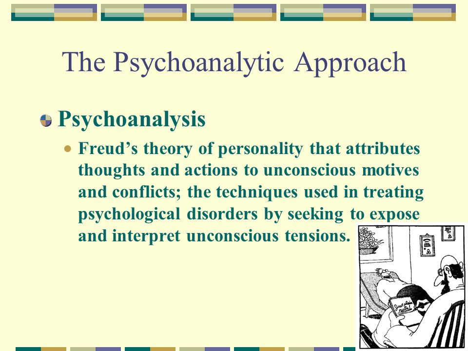 sigmond freud's psychoanalytic theory of personality Key takeaways key points sigmund freud 's psychoanalytic theory of personality argues that human behavior is the result of the interactions among three component parts of the mind: the id.