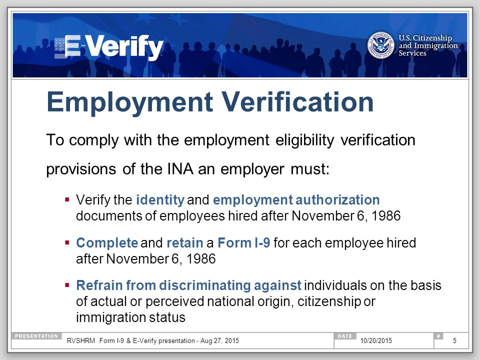 The Real Deal On Form I-9 And It'S Companion: E-Verify - Ppt Download