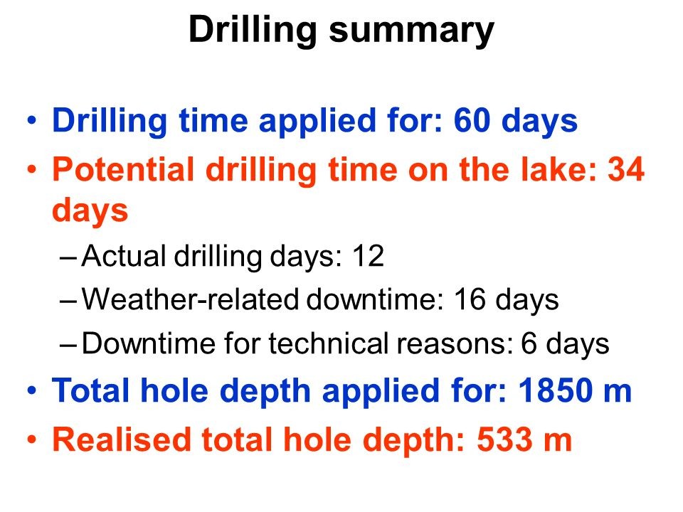 Drilling summary Drilling time applied for: 60 days