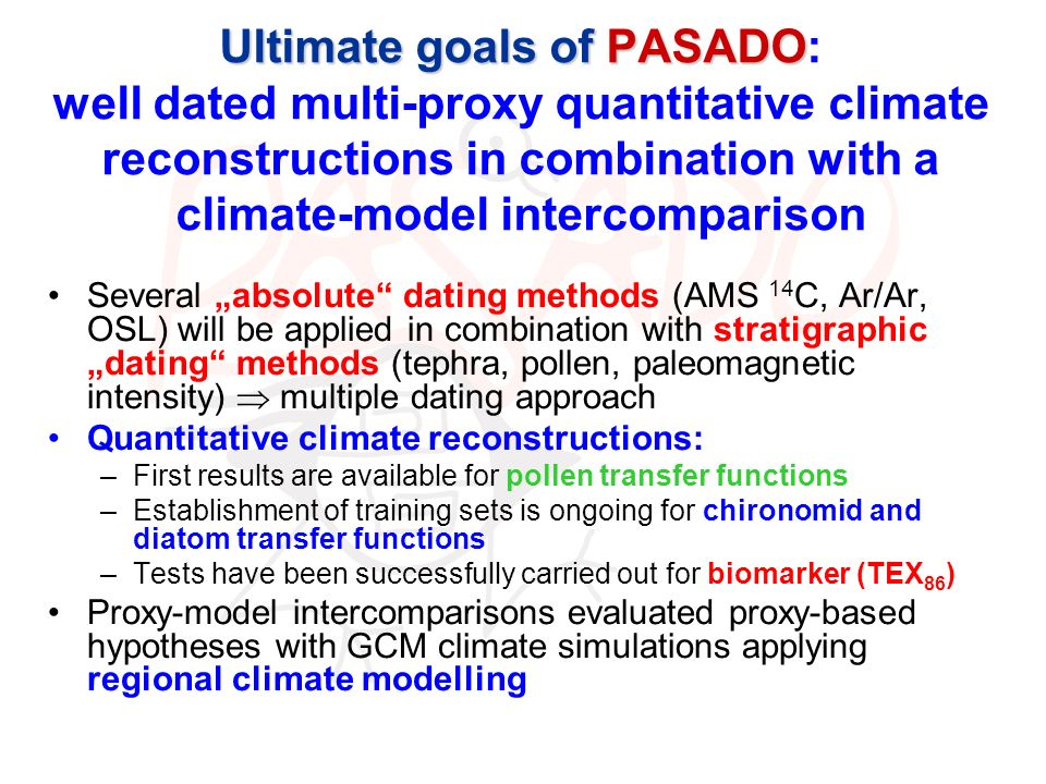 Ultimate goals of PASADO: well dated multi-proxy quantitative climate reconstructions in combination with a climate-model intercomparison