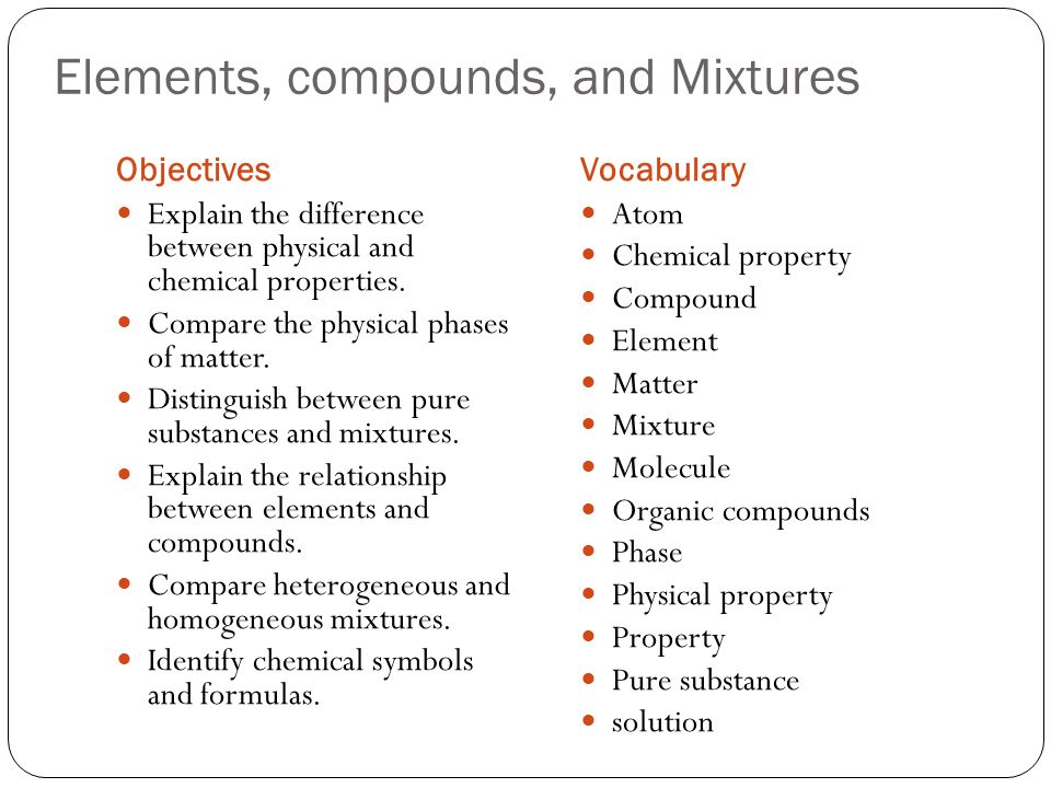 the differences between chemical mixtures and pure substances An element is a pure substance that cannot be broken down into  the chemical  and physical properties of one element differ from any  the following examples  illustrate these differences between mixtures and compounds.