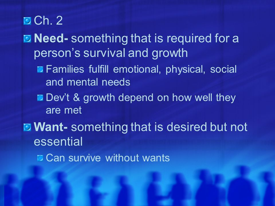 Need- something that is required for a person's survival and growth