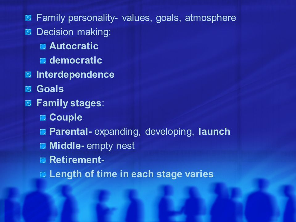 Family personality- values, goals, atmosphere