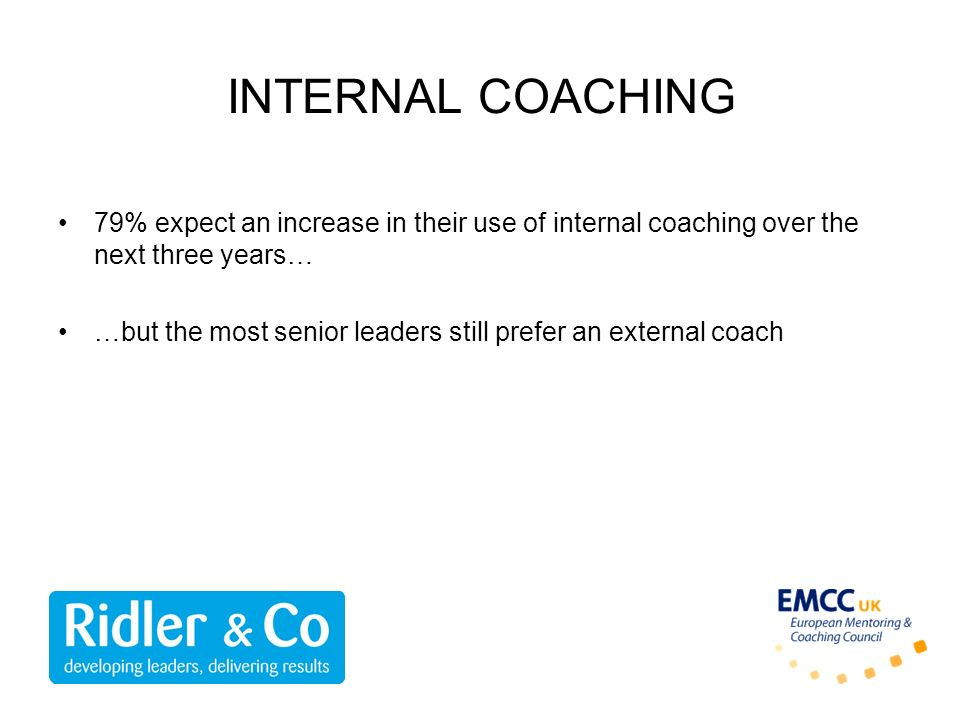 INTERNAL COACHING 79% expect an increase in their use of internal coaching over the next three years…